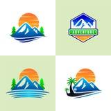 Fijado de la montaña Logo Templates stock de ilustración