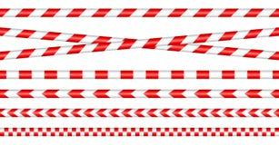 Fijado de las cintas de la barrera rojo/blanco stock de ilustración