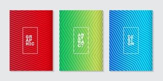 Fijado de las cubiertas mínimas del fondo diseñe la línea de semitono fresca abstracta modelo de la pendiente Plantilla geométric ilustración del vector