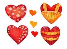 Fijado de los corazones de la acuarela del rojo y del oro aislados en blanco ilustración del vector