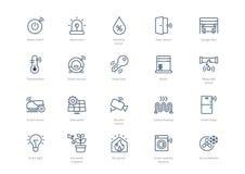 Fijado de los iconos caseros elegantes del movimiento aislados en fondo ligero libre illustration