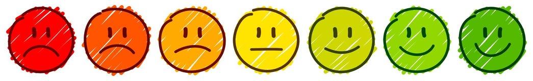 Fijado de siete caras Handdrawn enmarque el color del humor de la reacción libre illustration