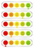 Fijado del barómetro horizontal cinco con las caras que muestran color y la plata del humor ilustración del vector