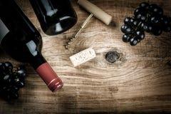Fijando con la botella de vino rojo, de uva y de corchos Carta de vinos concentrada Fotografía de archivo