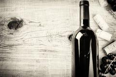Fijando con la botella de vino rojo, de uva y de corchos Carta de vinos concentrada Fotos de archivo libres de regalías