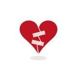Fijando un corazón quebrado con la cinta adhesiva - ejemplo del concepto ilustración del vector
