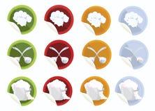 Fijar-de-vector-etiqueta-con-cocinero-sombrero-cuchara-crisol Foto de archivo libre de regalías