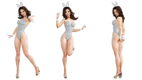 Fije a Bunny Girl Piernas largas de la mujer atractiva Zapatos rojos del traje de baño Fotografía de archivo