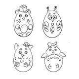 Fije con 4 animales lindos en una forma de los huevos de Pascua para colorear p stock de ilustración