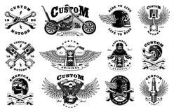 Fije con 12 ejemplos del motorista del vintage en el fondo blanco Imagenes de archivo
