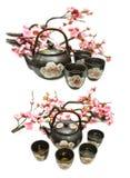 Fije con el pote del té negro y la rama de Sakura Foto de archivo