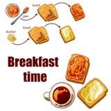 Fije con la comida de desayuno: tueste el pan, el atasco y la mantequilla Imagenes de archivo