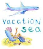 Fije con la muchacha y el avión ilustración del vector