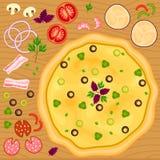 Fije con la pizza y diversos ingredientes Foto de archivo