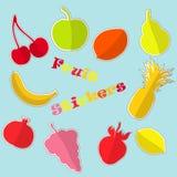 Fije con las etiquetas engomadas planas de la fruta Fotografía de archivo libre de regalías