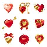 Fije con las muestras y los símbolos de las tarjetas del día de San Valentín Imagen de archivo