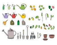 Fije con las semillas, los utensilios de jardinería y el equipo Fotografía de archivo libre de regalías