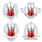 Fije con los dardos rojos en el centro de la guirnalda de plata Logotipo del deporte para cualquier juego o campeonato de los dar libre illustration