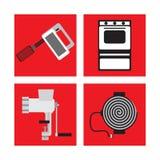 Fije con los dispositivos de cocina en estilo retro, mezclador, máquina para picar carne, estufa de gas, estufa eléctrica Fotografía de archivo libre de regalías
