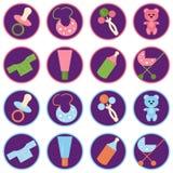 Fije con los iconos de los objetos del bebé Fotografía de archivo