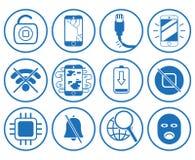 Fije con los iconos del smartphone de la reparación stock de ilustración