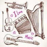 Fije con los instrumentos musicales Fotografía de archivo