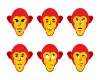 Fije con los monos de las emociones Mono alegre y enojado Sorprenda a stock de ilustración