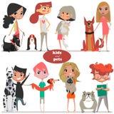 Fije con los niños y los animales domésticos lindos de la historieta Foto de archivo libre de regalías