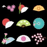 Fije con los objetos del estilo japonés Imágenes de archivo libres de regalías