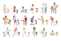 Fije con los padres y sus niños que hacen diverso deporte ejercitan Tiempo de la familia Actividad y sano físicos ilustración del vector