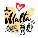 Fije con símbolos icónicos en el estilo caligráfico de la Malta en el fondo de corazones ilustración del vector