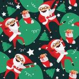 Fije con Santa Claus de baile preciosa, mano dibujada en diversos pasos de danza Vector el modelo inconsútil con el carácter prec stock de ilustración