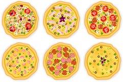 Fije con seis diversas pizzas en el fondo blanco Imagen de archivo