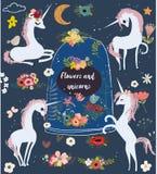 Fije con unicornios y flores de la historieta ilustración del vector