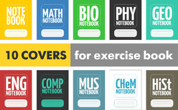 Fije 10 cubiertas modernas simples para el libro de ejercicio de escuela Fotos de archivo libres de regalías