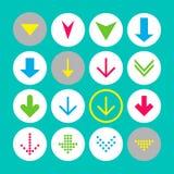 Fije de 16 abajo de iconos de la flecha Botones de la flecha en el fondo blanco en círculo carmesí, azul, amarillo y transparente ilustración del vector