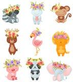 Fije de animales de la historieta con las guirnaldas de flores en sus cabezas Ilustraci?n del vector en el fondo blanco ilustración del vector