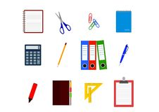 Fije de artículos de la oficina: calculadora, cuaderno, carpetas de archivos libre illustration