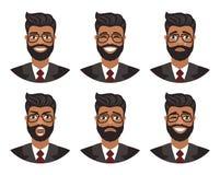 Fije de avatares de los hombres que expresan diversas emociones: alegría, tristeza, risa, rasgones, cólera, repugnancia, grito libre illustration