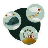 Fije de ballena coloreada redonda de los iconos ilustración del vector