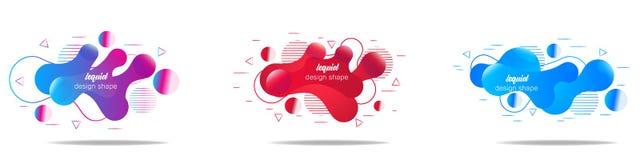 Fije de banderas abstractas modernas del vector formas flúidas de diversos colores con el esquema brillante en estilo del diseño  ilustración del vector