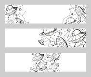 Fije de banderas horizontales con los ejemplos del niño del contorno de estrellas, de naves espaciales, de UFOs y del lugar para  stock de ilustración