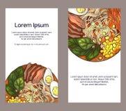 Fije de banderas verticales con ramen y el lugar del color para el texto en el fondo blanco libre illustration