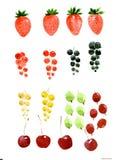 Fije de bayas: fresa, pasa negra, roja, blanca, cereza, grosella espinosa Ejemplo de la acuarela aislado en el fondo blanco fotos de archivo