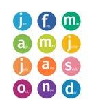 Fije de círculos multicolores con nombres abreviados del mes bajo la forma de logotipos libre illustration