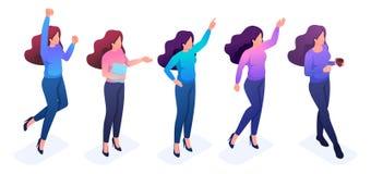 Fije de chicas jóvenes con gestos y emociones stock de ilustración