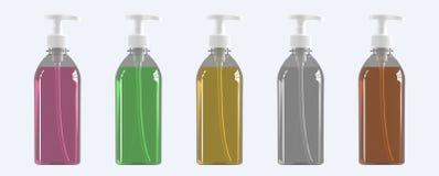 Fije de cinco botellas plásticas con el dispensador 3d rinden ilustración del vector