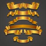 Fije de cintas amarillas y de oro realistas Elemento para los regalos de la decoración, saludos, días de fiesta, diseño de día de libre illustration