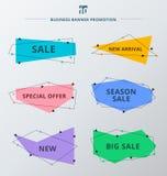 Fije de cintas de la oferta de la promoción y del descuento de venta o de etiquetas de la bandera ilustración del vector