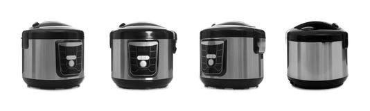 Fije de cocinas multi el?ctricas modernas en blanco foto de archivo libre de regalías